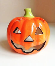 2 X Halloween Ceramic Pumpkin Tea Light Holder - Brand New - Registered Mail