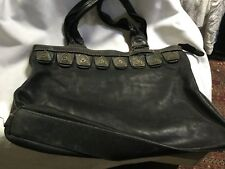 VINTAGE VISCONTI JUONG LEATHER TOTE BLACK NEEDS A SMALL REPAIR TO THE STITCHING