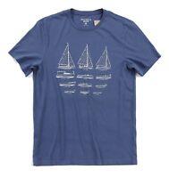 J.Crew Men's - Navy Blue Sailboat Diagram Graphic Short Sleeve Cotton Tee