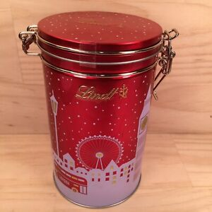 """LINDT """"London Christmas"""" Beautiful Red Festive Canister Tin Metal Lolly Box"""