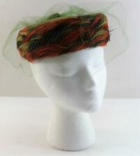 Vintage 1940s Ranleigh Ladies Pillbox Hat Feathers Velvet and Netting