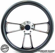 """14"""" Marine Boat Polished Billet Steering Wheel w/ Carbon Fiber Set 3/4"""" Key Way"""
