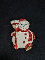 Gold Tone Red White Enamel Rhinestone Snowman Christmas Winter Pin Brooch