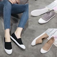 Women Flats Casual Loafers Round Toe Canvas Slip On Shoes Breathable Sneakers Sz