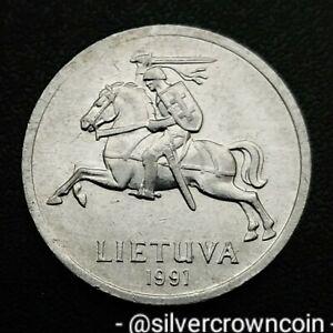 Lithuania 1 Centas 1991. KM#85. One cent coin. Lietuva. Horse. Rider.