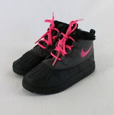 Nike Woodside Chukka 2 Boots Toddler Girls 10C Black Gray Pink Faux Fur Winter
