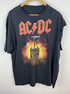 Vintage 90s ACDC TNT Mens T Shirt Size XL Graphics Print Crew Neck Black