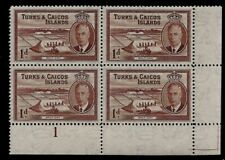 1950 Turks & Caicos Islands King George VI Margin Cylinder Block of 4 Stamps 1d