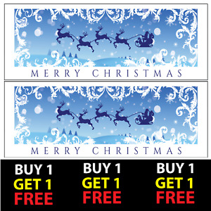 2 Christmas Xmas Themed Party Banners V7 100gsm Paper Celebration Wall Deco