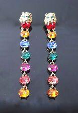 Vintage Colorful crystal dangle chandelier earrings green eye Lion 3.75 inch L