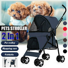 2 In 1 Dog Cat Pet Stroller Foldable Teddy 4 Wheeled Carrier Outdoor Travel Cart