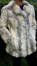 Beautiful soft cream brown grey real vintage Rabbit Coney fur jacket coat sz 10