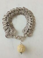 Vintage Sterling Silver Hand Crafted Tribal Wire Swirl Bracelet Charms