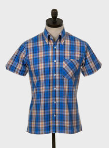 Art Gallery Clothing - Short Sleeve Fitted Shirt - Blue Check S Mod Sixties