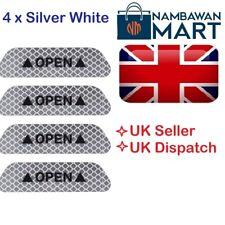 4 x WHITE SILVER Car Door Safety Reflective Tape Open Sign Sticker UK - AUTO1045