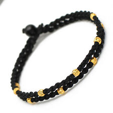 NEW 999 Pure 24K Yellow Gold 10pcs 3mm Elegant Bead Link Lucky Knitted Bracelet