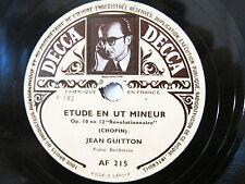 78rpm JEAN GUITTON (PIANO) plays CHOPIN ETUDES - ORIG. FRENCH DECCA