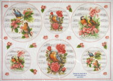 Rice Paper for Decoupage Scrapbook Craft Sheet Roses Birds and Music