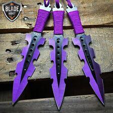 "3PC 7.5"" Ninja Tactical Combat Naruto Kunai Throwing Knife + Sheath Set PURPLE"