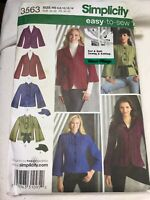 3563 Simplicity Sewing Pattern S-L Misses Jacket Newsboy Hat Bell Sleeve