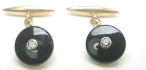 Antique Art Deco Vintage Diamond Black Onyx Cufflinks 18K Yellow Gold .12CTTW