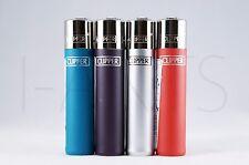 4 pcs New Refillable Clipper Full Size Lighters Metallic Colors
