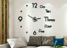 Diy Large Wall Clock Modern Design 3D Wall Sticker Clock Silent Home Decor Room