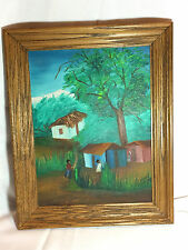 Vintage Framed Painting of Children in Caribbean Village Signed 15 x 19