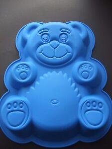 "Silicone Mould Large 11"" Teddy Bear Birthday Cake Tin/ Sponge Pan"