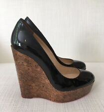 Christian Louboutin Black Wedge Shoes Size 37.5 USED