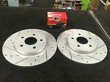 FORD MONDEO MK3 2001-07 CROSS DRILLED GROOVED BRAKE DISC MINTEX PADS REAR