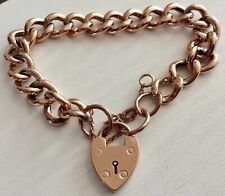 Lovely Ladies Antique Victorian Rose Gold 9CT Bracelet & Padlock Rosey Gold