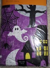 """HALLOWEEN HAUNTED GHOST HOUSE TABLECLOTH NEW! 60"""" X 84"""" oblong PEVA FLANNEL BACK"""