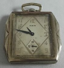 Antique Pocket Watch 1930 Elgin 14K White Gold GF 17-Jewels Grade 479 working