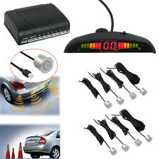 8 Silver Parking Sensors CAR REVERSING REVERSE PARKING KIT BUZZER ALARM NEW