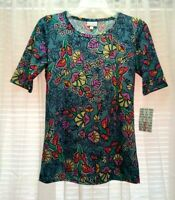 NEW WOMEN'S LULAROE GIGI MULTICOLOR FLORAL PRINT SHORT SLEEVE TOP SIZE S BNWT