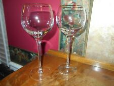 LENOX Timeless Gold Rimmed crystal balloon wine goblets glasses stems NOS 7 5/8""
