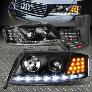 FOR 02-04 AUDI A6 QUATTRO LED DRL BLACK HOUSING PROJECTOR HEADLIGHTS+TOOL SET