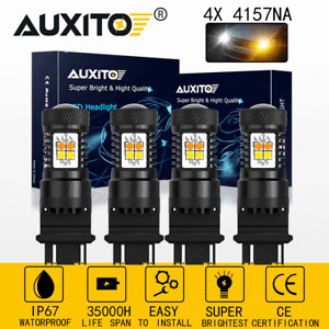 auxito 4x 3157 3156 Dual Color White Amber Switchback LED Turn Signal Lights