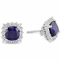 Sterling Silver Created Blue and White Sapphire Stud Earrings