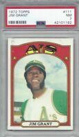 1972 Topps baseball card #111 Jim Mudcat Grant Oakland A's Athletics PSA 7