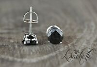 2.0 ct Brilliant Round Cut Black Screw Back Earring Studs Solid 14K White Gold