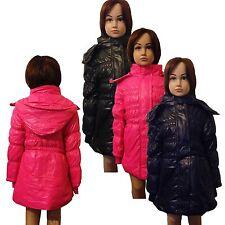 New Girls WARM Winter Jacket Padded Coat Detachable Hood Lined Anorak 3-12ys #52
