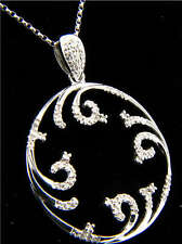 Designer 14k White Gold Circle Diamond Pendant w/ chain
