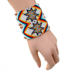 NATIVE INSPIRED STYLE ETHNIC MULTI-COLOR BEADED WIDE LEATHER  CUFF BRACELET B41/