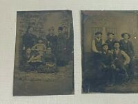 2 Antique Tintype Photos 5 Young Boys Homoerotic And 6 Women Family
