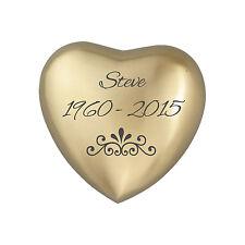 Personalised Patterned Golden Heart Urn Keepsake for Ashes Cremation