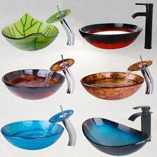 Various Type Bathroom Glass Wash Basin Vessel Sink Waterfall Mixer Faucet Set