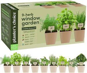 9 Herb Window Garden - Indoor Herb Growing Kit - Kitchen Windowsill Starter Kit