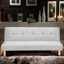 Divano letto 3 posti microfibra bianco stile moderno recrinabile da soggiorno |1